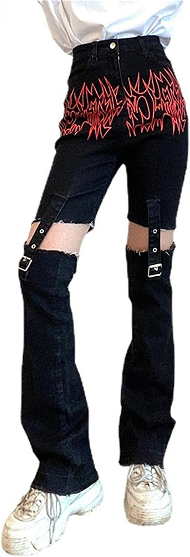 Dunacifa Jeans for Women High Waisted Y2k Adjustable Patchwork Pocket Elastic Printed Denim Jeans Skinny Streetwears