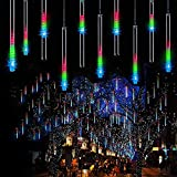 Fishda Meteor Shower Lights Waterproof , 11.8 Inch 8 Tube 192 LEDs, Icicle Snow Fall String Cascading Lights, Christmas Lights for Holiday Party Wedding, Garden Decoration (Color)