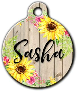 Sunflower pet id tag, Floral pet tag, Country pet tag, rustic pet tag, dog tag for girl dog, cat id tag, sunflowers, Personalized aluminum pet id tag