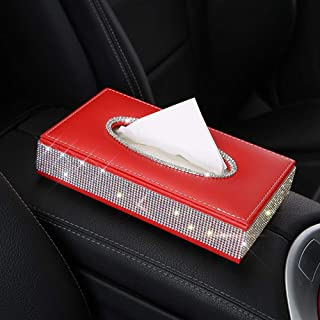 Forala PU Leather Tissue Box Holder, Bling Bling Rhinestone Crown Napkin Holder Pumping Paper Case Dispenser for Home Office Car Automotive Decoration
