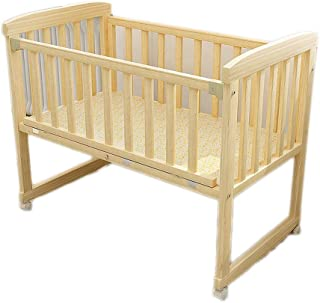 Wooden Baby Cot Bed Toddler Bed Multifunction Wood Baby Rocking Crib Bassinet Bed Sleeper Born Portable Spray Paint  Color Natural  Size 57 5 78cm