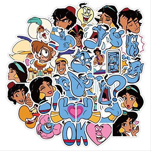 Etiqueta engomada del juguete de la princesa de Disney Jasmine Aladdin Minnie Frozen etiqueta engomada linda de la historieta del equipaje del cuaderno de la etiqueta engomada de la pintada 40 piezas