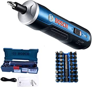 Bosch Electric Screwdriver, Autoday 3.6V Smart 6 Modes Adjustable Torques Cordless Rechargeable Screwdriver Tool Kits (Blue (with 33 drills))