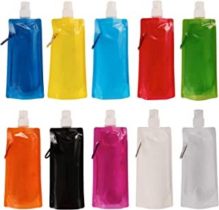 SOTOGO 10 Pack Collapsible Water Bottle Reusable Drinking Water Bottle with Clip for Biking, Hiking Travel, 10 Colors