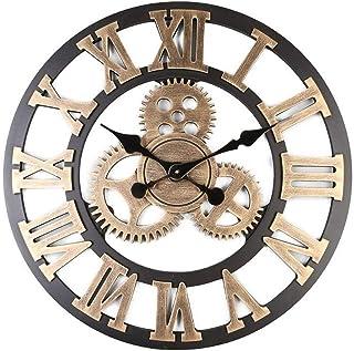 Xiaoyezi 3D Horloge Murale 80 * 80cm Grand Classique Vintage en Bois Silencieux Rétro Vitesse Pendaison Horloge Chiffre Ro...