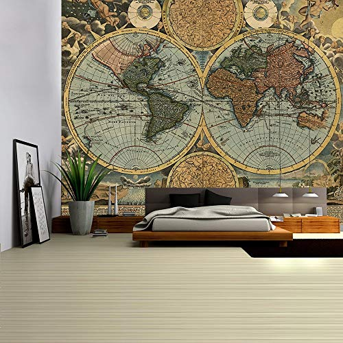 Mapa del mundo tapiz HD mapa tela colgante de pared decoración acuarela mapa alfabeto toalla de playa tela de fondo a7 130x150cm
