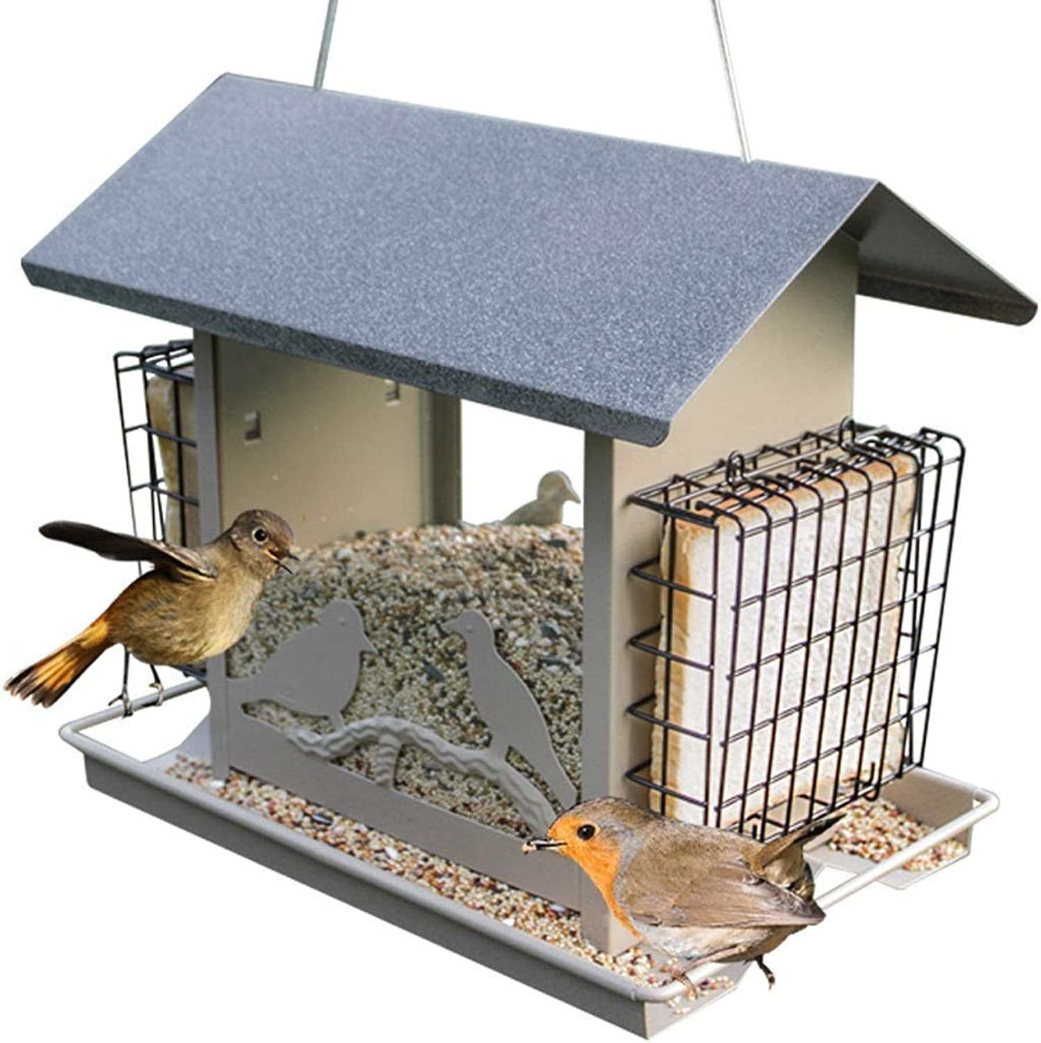 Feeder Hanging Wild Bird Garden, Feeding Bird Standing Hanging Seeds And Nut