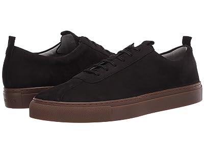 Grenson Nubuck Low Top Sneaker (Black Nubuck/Gum Sole) Men