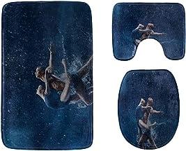 A Young Elegant Ballet Dancer Bathroom Rug Mats Set 3-Piece,Soft Shower Bath Rugs,Contour Mat and Toilet Seat Lid Cover No...