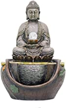 Meditation Buddha Tabletop Fountains,with LED Light and Adapter Statue Buddha Fountain for Living Room Bedroom Garden