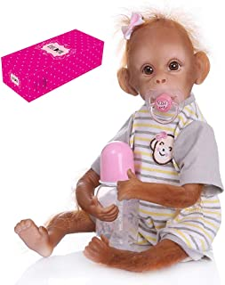 Docooler Decdeal Realistic Baby Monkey Doll 16 inch 40 cm Lifelike Reborn Baby Monkey Handmade Detailed Painting Art Dolls with Yellow Stripe T-Shirt