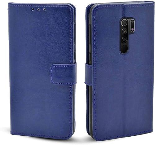 Pikkme Redmi 9 Prime Flip Cover Case Leather Flip Back Covers Cases For Redmi 9 Prime Blue
