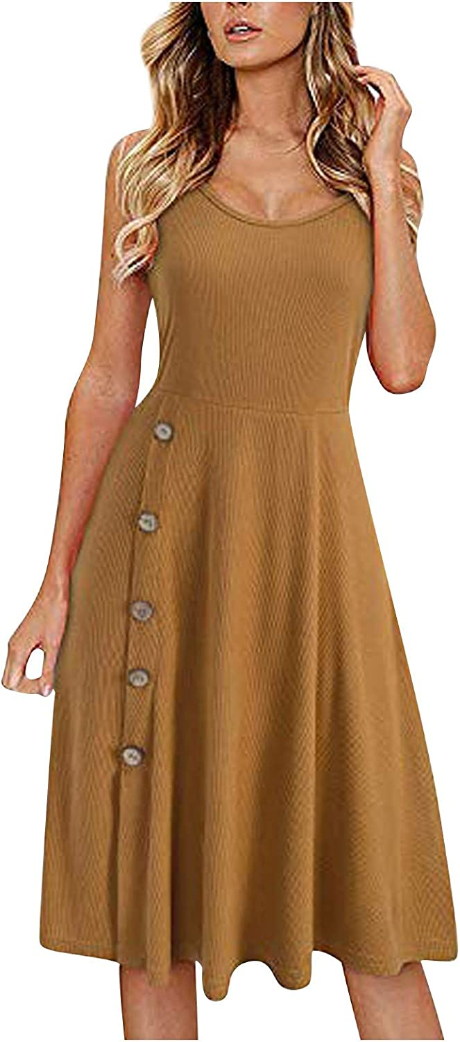 Smileyth Women's Sleeveless Limited time trial price 100% quality warranty! Fashion Solid Ne Buttons Color Round