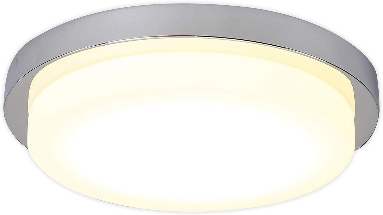 Lampenwelt LED Deckenleuchte 'Adriano' (Modern) in Chrom aus Metall u.a. für Badezimmer (1 flammig, A+, inkl. Leuchtmittel) - Lampe, LED-Deckenlampe, Deckenlampe, Badezimmerleuchte