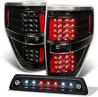 For 2009-2014 Ford F150 F-150 Black LED Tail Lights + LED 3rd Brake Light Lamp Combo