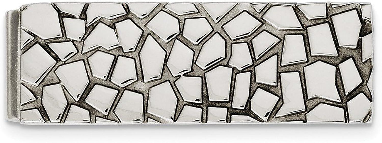 JewelryWeb Geldclip Edelstahl poliert strukturiert B00EIS5AFK