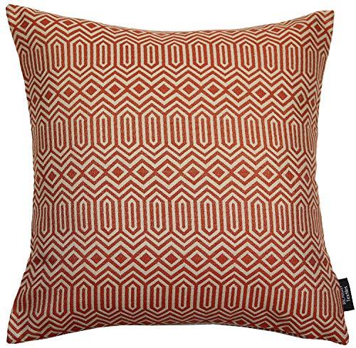 McAlister Textiles Colorado | Kissenbezug für Sofakissen in Terracotta Orange | 49 x 49 cm | Gewobenes geometrisches Jacquard Muster | Ethno-Design Deko Kissenhülle für Sofa, Couch
