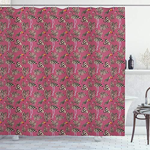 ABAKUHAUS rosa Zebra Duschvorhang, Flamingo Toucan Vogel, mit 12 Ringe Set Wasserdicht Stielvoll Modern Farbfest & Schimmel Resistent, 175x180 cm, Schwarz Rosa Tan