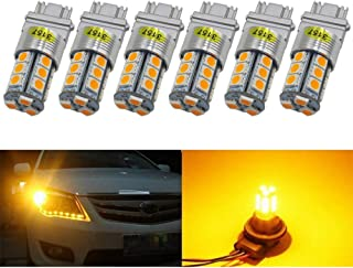 Lampadine per esterno 6-Pack 3157 3047 3057A Extremely Bright Amber Yellow LED Light,12V-DC AMAZENAR Imported 5050 Chipset 18 SMD 3157A Base Dimmable Replacement For Tail BackUp Bulb Brake Turn Signal Light Parking Lamps Lampadine