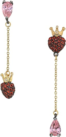 Betsey Johnson - Pink and Gold CZ Heart Earrings