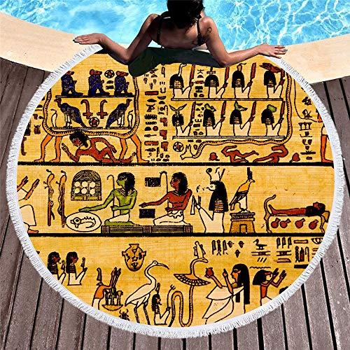 VSander Retro De Secado Rápido Absorbente Redondo Toalla De Playa Personalidad Impresión Redonda Toalla De Playa Grande Mantón 150 * 150 Cm