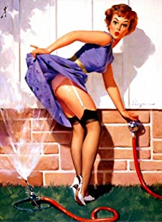 Pin-Up Girl Canvas Wall Art Poster Reproduction Giclee Picture Print Home Decoration - A Near Miss 1960 by Gil Elvgren - 40X50cm (Approx. 16X20inch)