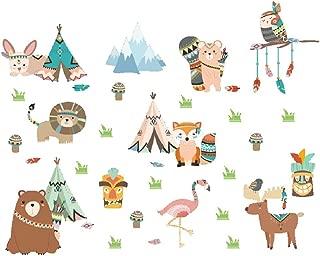Amaonm Creative Cartoon Baby Room Wall Sticker Murals Removable DIY Animals Wall Decals 3D Nursery Art Decor Grass Owls Lions Fox Wallpaper for Boys Girls Bedroom Bathroom Living Room Classroom