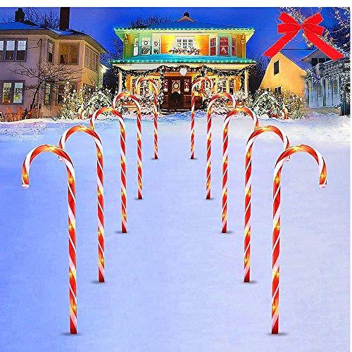 10 Lampioni Natalizi,LED Rosse Bastoncini di Zucchero,60 PCS LED Catena Luci,Impermeabili Paesaggio Esterno Lampade da Prato Luci di Decorazione di Natale