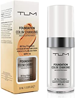 TLM Colour Changing Liquid Foundation Cream Flawless Finish, Warm Skin Tone Makeup Base Nude Face Moisturizing Liquid Foundation Cover Concealer SPF15 for Women Girls (30ml)