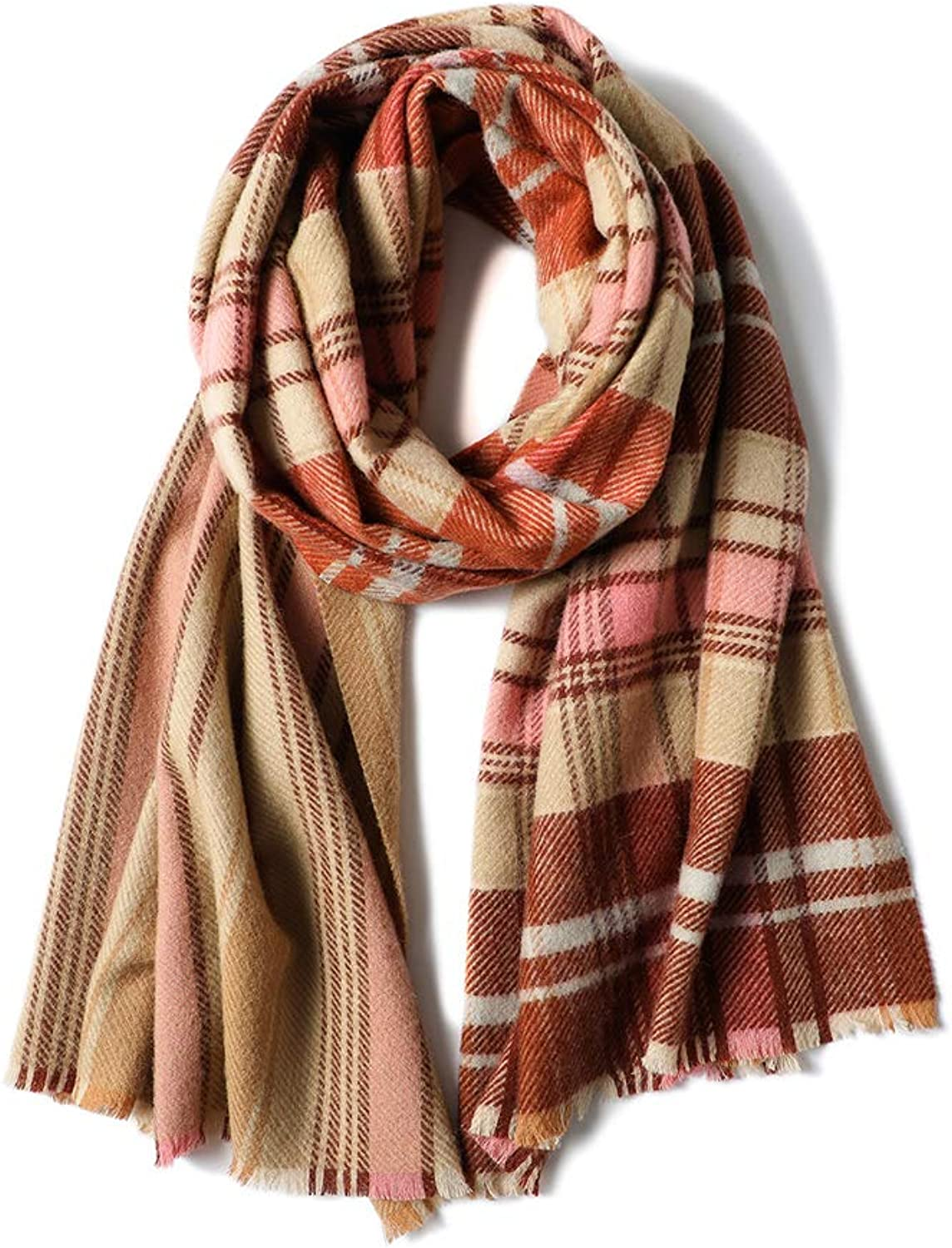 WJSW Pure Wool Tartan Scarf,Grand Super Soft Winter Fall Scarf for Men & Women 200X60cm,D