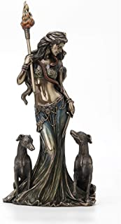 """Veronese Design 13 3/8"""" Tall Cold Cast Resin Antique Bronze Finish Hecate Greek Goddess of Magic with Her Hounds Statue Fi..."""