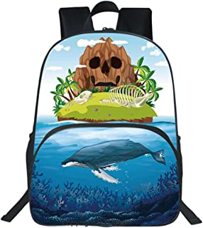 Oobon Kids Toddler School Waterproof 3D Cartoon Backpack, Huge Whale diving into Ocean in Rainbow Hand Drawn Image Perfect for Teens, Fits 14 Inch Laptop