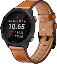 Intoval Compatible with Garmin Forerunner 245 Bands/Forerunner 245/645 Music,20mm Classic Leather Women Men Replacement Sp...