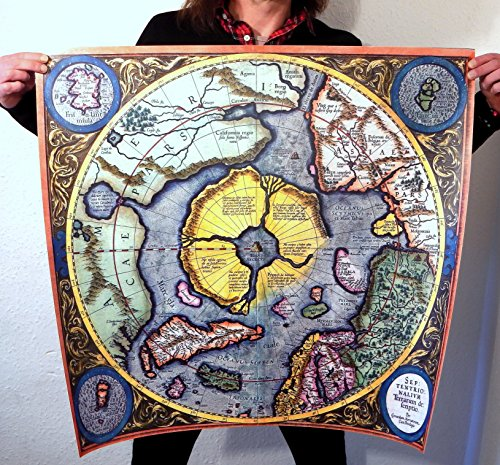 Flat Earth Poster–Mercator Hondius 1613–Flat Earth Map '1621du Pôle Nord, Pôle Nord arctique,' Septentrionalium Terrarum Descriptio '(76,2x 76,2cm) 76x 76cm