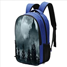 16.5 inch Laptop Backpack Magic Castle Silhouette over Full Moon Night Fantasy
