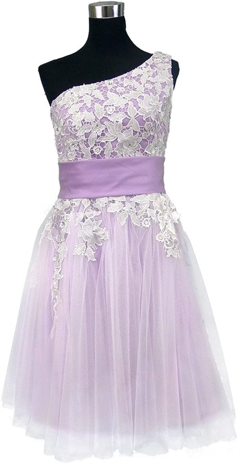 Oneshoulder Lace and Tulle Short Bridesmaid Dress