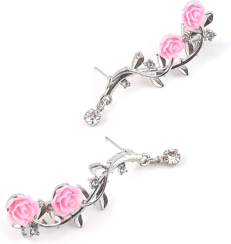 Underleaf Rose Flower Climber Earrings Flower Branch Wrap Cuff Earrings Clip On Jewelry Valentine's Day Gifts