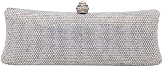 MDSQ Clutch Simple Elongated Diamond Evening Bag Lady Fashion Chain Shoulder Bag Girl Wedding Party Gift 23 * 9 * 5cm Fashion personality (Color : Silver)