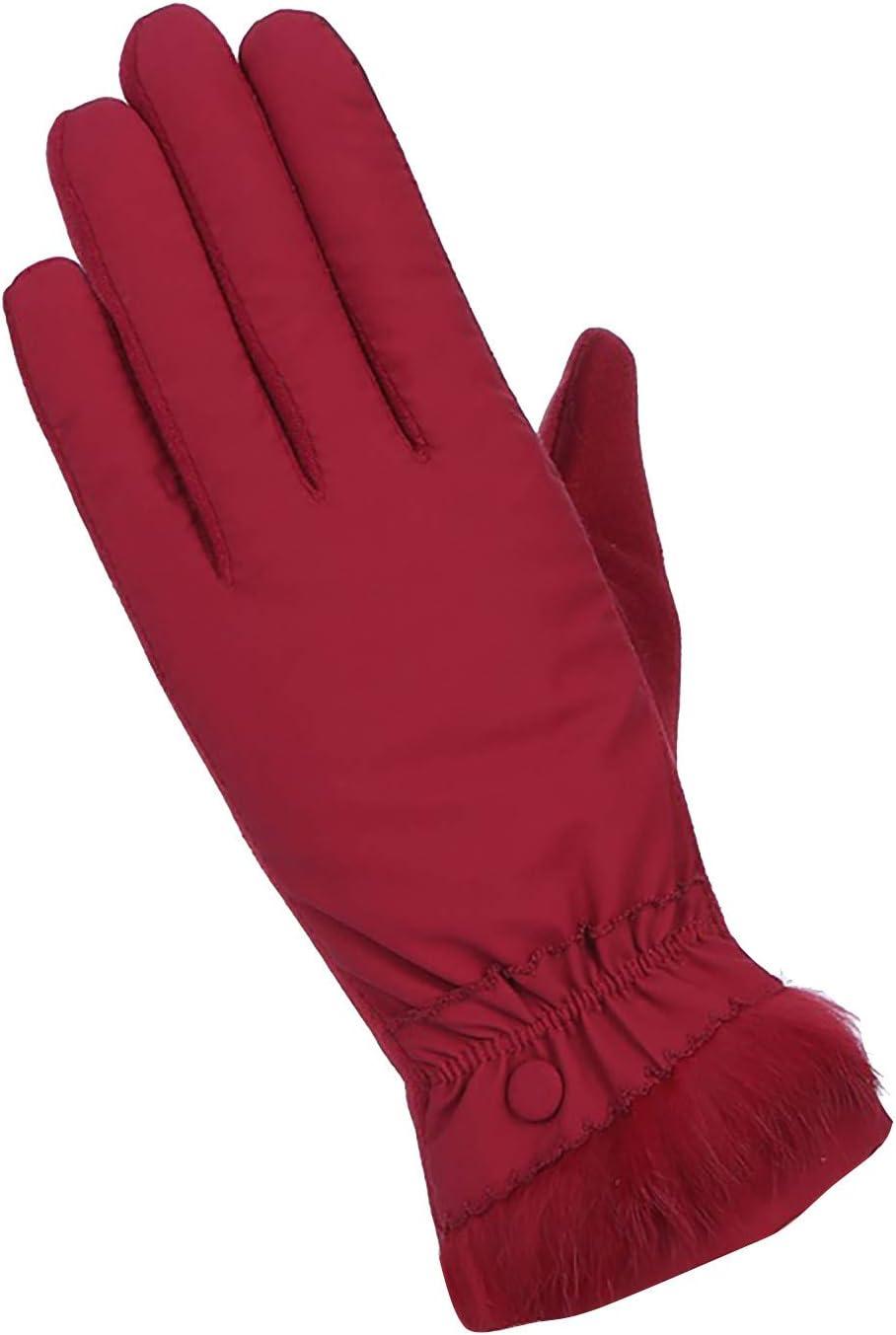 Sinifer Womens Winter Touchscreen Gloves Warm Lined Fingers Dual-layer Touch Screen Texting Mitten Rainproof Glove for Women (2-Red/Buttons)