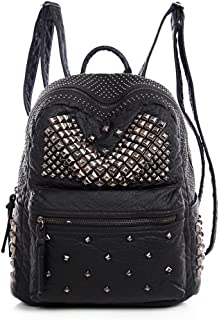 Ladies Women PU Leather Backpack Rivet Studded Cute Satchel School Bags (Black-L)