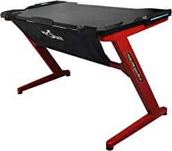 Drakon PK-101 Gaming Desk with LED, Z-Shape Compter PC Gaming Desk for E-Sport (Black/Red)