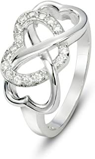 925 Sterling Silver Cubic Zirconia Infinity & Heart Symbol CZ Wedding Band Ring