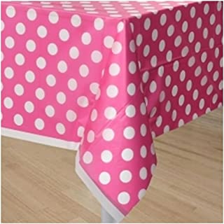 Unique Hot Pink Polka Dots Party Plastic Tablecovers - 2 Pieces