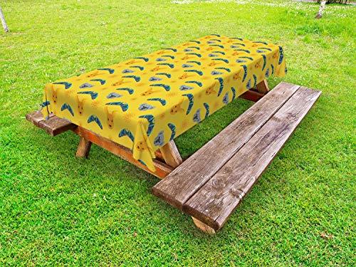 ABAKUHAUS Känguru Outdoor-Tischdecke, Aboriginal Art Boomerang, dekorative waschbare Picknick-Tischdecke, 145 x 265 cm, Mehrfarbig