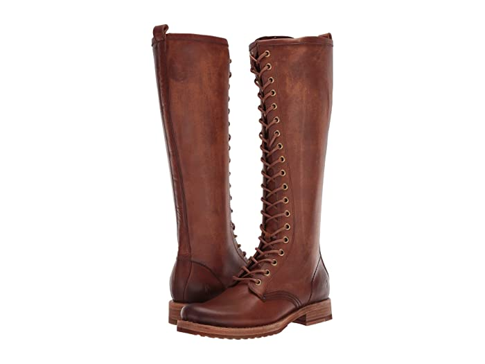 Vintage Style Shoes, Vintage Inspired Shoes Frye Veronica Combat Tall Caramel Womens Boots $398.00 AT vintagedancer.com