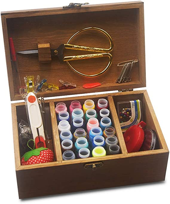 Girls Adults Portable Stitching Repair Tool Kit Accessories Organizer Hand Home Universal Sewing Supplies and Notions for Women,Men Kids Wooden All in one Sewing Kit Box Basket with Compartment