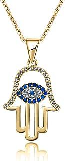 AMOFA 925 Sterling Silver Evil Eye&Hamsa White Blue Cz Womens Pendant Necklace