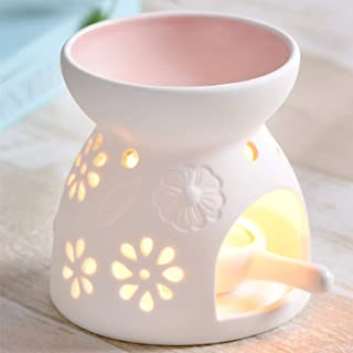 Ceramic Essential Oil Warmer : Great for Meditation, Aromatherapy – Fragrance Diffuser Used with Tea Lights -Ideal for Wedding Gifts & Indoor, Outdoor Gatherings – Great Air Freshener (Pink)