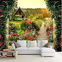 山笑の美 壁紙壁画ウォールステッカー壁紙パラダイスコンフォートガーデン大カスタム3D壁紙テレビの背景の壁3D -400X280CM