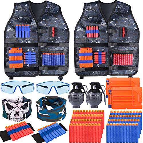 Giftinthebox 2 Pack Adjustable Kids Tactical Jacket Vest Kit with 80 Bullets Refill Darts , 2 Reload Clip, 2 Face Mask, 2 Protective Glasses and More for Boys and Girls